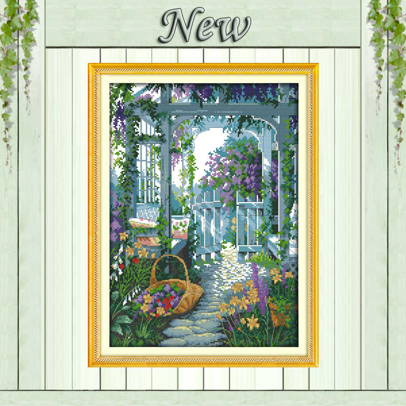 The garden gate Europe Scenic Paintings,Counted Print on Canvas DMC 14CT 11CT Cross Stitch Needlework crafts Kit Embroidery Sets