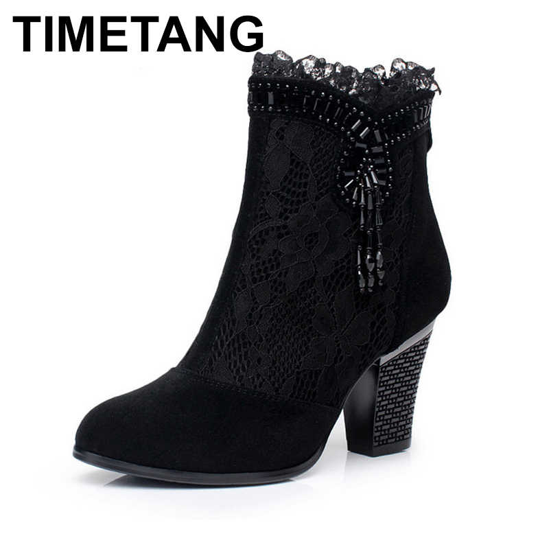 f065f2ddb91 TIMETANG New 2018 Spring Summer Lace Genuine Leather Boots Women Cutout  High Heels Ankle Boots Woman Platform Shoes Square Heel