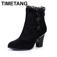 TIMETANG New 2018 Spring Summer Lace Genuine Leather Boots Women Cutout High Heels Ankle Boots Woman Platform Shoes Square Heel