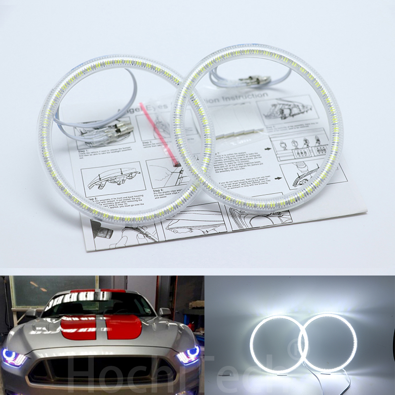 Ultra bright SMD white <font><b>LED</b></font> angel eyes halo ring kit day light DRL for Ford <font><b>Mustang</b></font> <font><b>2015</b></font> 2016 Car Styling image
