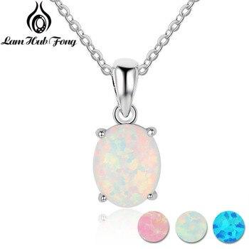 Women 925 Sterling Silver Opal Necklace