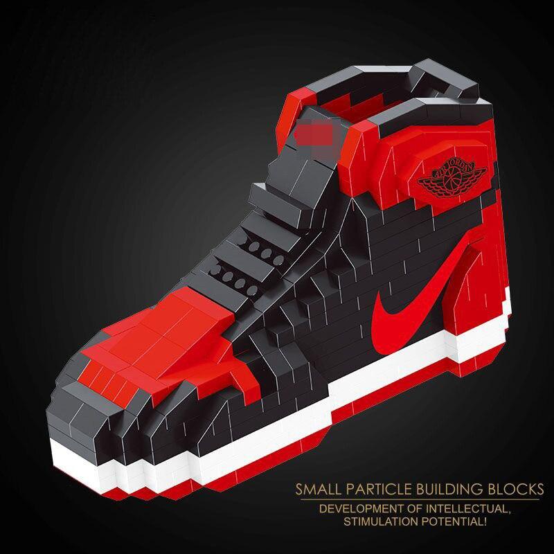 brand new 76d3f a8132 US $8.95 39% OFF|Hot classic air Jordan 1 sport basketrball shoe micro  diamond building block model aj1 nanoblock assemable bricks toy  collection-in ...