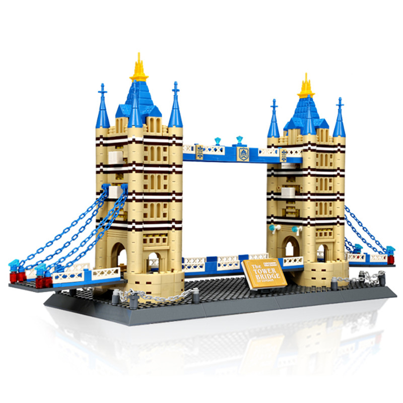 1033Pcs World Famous Architecture London Tower Bridge Building Block Brick Toy 8013 2017 world famous architecture statue of liberty new york america usa united states mini diamond building block nanoblock model