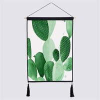 Cactus Green Plant Print Wall Art Poster Picture Abstract Hanging Painting Modern Fashion Cotton Solid Wood Bedroom Home Decor