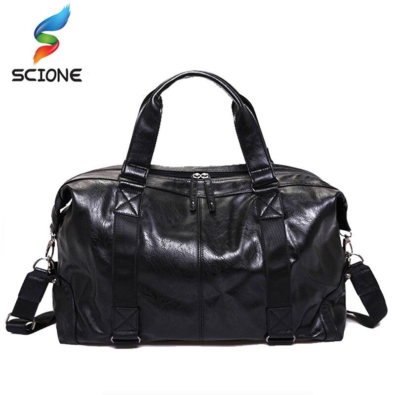 Hot Men Outdoor Sports Gym Bags Travel Handbag For Men Solid PU Leather Shoulder Men's Luggag Tote Gym Bags Fitness Handbag