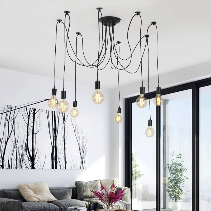 Modern Ceiling Chandelier 10 Arms Adjule White Hanging Lamp With Remove Control E27 Kitchen Lighting Fixture Res In Chandeliers From Lights