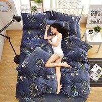 Free Shipping Modern Style Soft Fay Velvet Duvet Cover Set Bed Sheet Pillowcase King Size Super Soft Bedding Sets JAJU032
