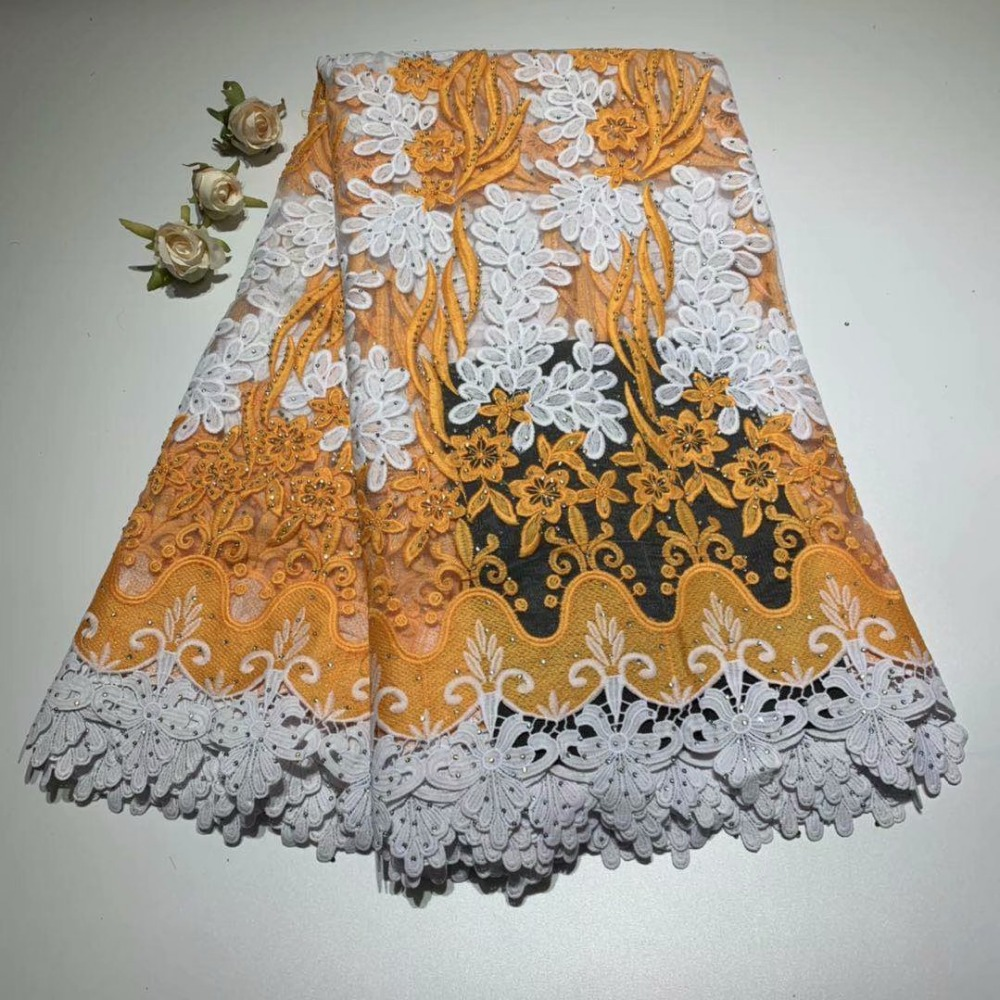 Nice african french guipure cord lace fabric embroidery lace fabric african lace fabric 2019 high quality