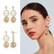 цена на Sweet Style Long Tassel Ladies Earrings Circle Metal Hollow Rhinestone Faux Pearl Women Earring Ear Jewelry