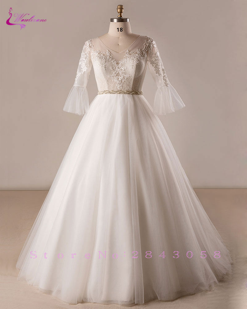 Waulizane Plus Size V Neck Flare Sleeves A Line Wedding Dresses ...