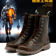 2016 New Style Designer Genuine Leather Men Boots Brown Top Quality Brand Mens Work Boots Black Autumn And Winter Shoes 2 Colors