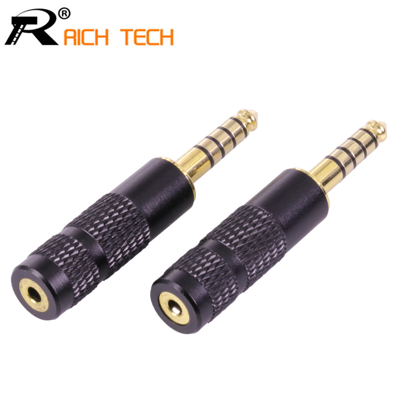3Pcs RICH TECH 4.4mm Jack 5 Poles Male Plug Full Balanced Headphone adapter to 2.5mm Female Jack Socket 3pcs aluminum jack 3 5 audio female jack 3 5mm 4 pole stereo socket gold plated wire connector rich tech earphone diy