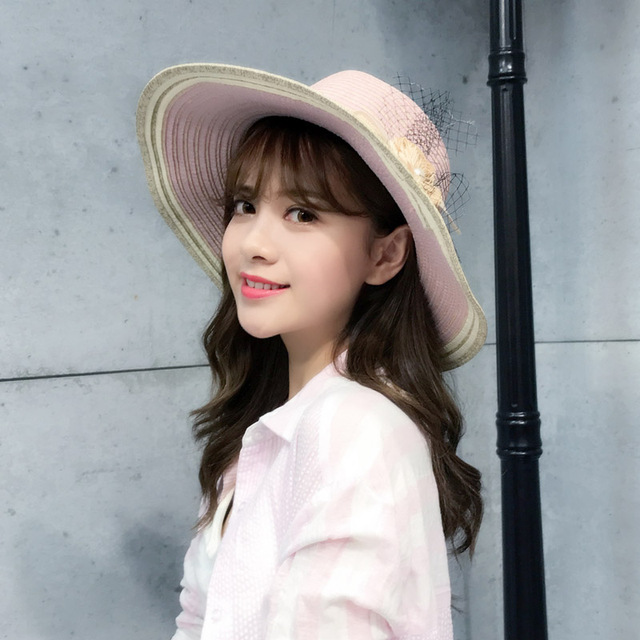 new Sun Visor Hat Women Fashion Flower Beach Large Brimmed Hat Lady Folding  Sun hat girl mother cap sunshade Sunscreen Basin cap b02e4600e84