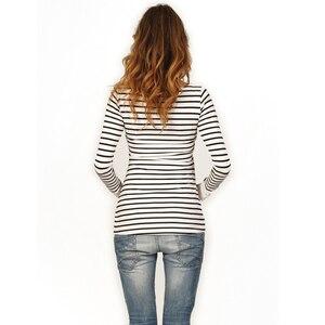Image 2 - ملابس أمومة الربيع موضة عادية مخطط O طوق الرقبة طويلة الأكمام التمريض الرضاعة الطبيعية للنساء الحوامل
