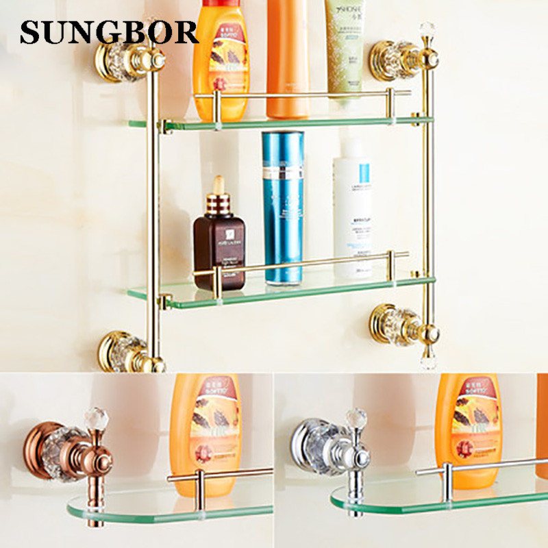 Free shipping Bathroom Glass Shelf Crystal & Copper Gold plated Dual Tier glass Cosmetic Shampoo Body Wash Shelves Bath shelf new arrival gold bathroom corner shelf soap holder dual tier bathroom shelves bathroom shampoo holder basket bathroom holder