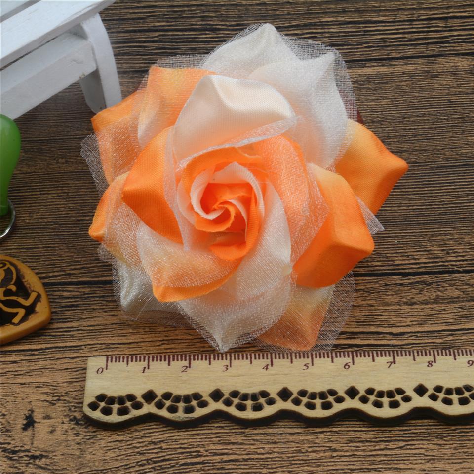 10pcs Large Silk 2 Color Fire Rose Artificial Flower Head For