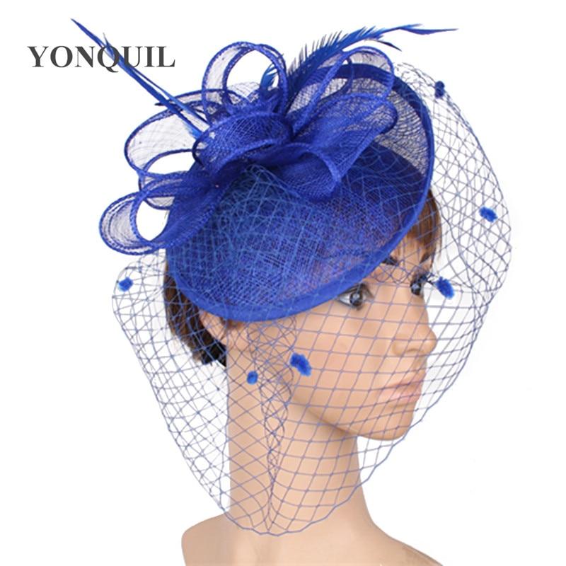 Royal Blue Elagant Sinamay Fascinators Feather Accessories Loops Hats Bridal Wedding Veils Headdress Ladies Fedora Cap SYF287