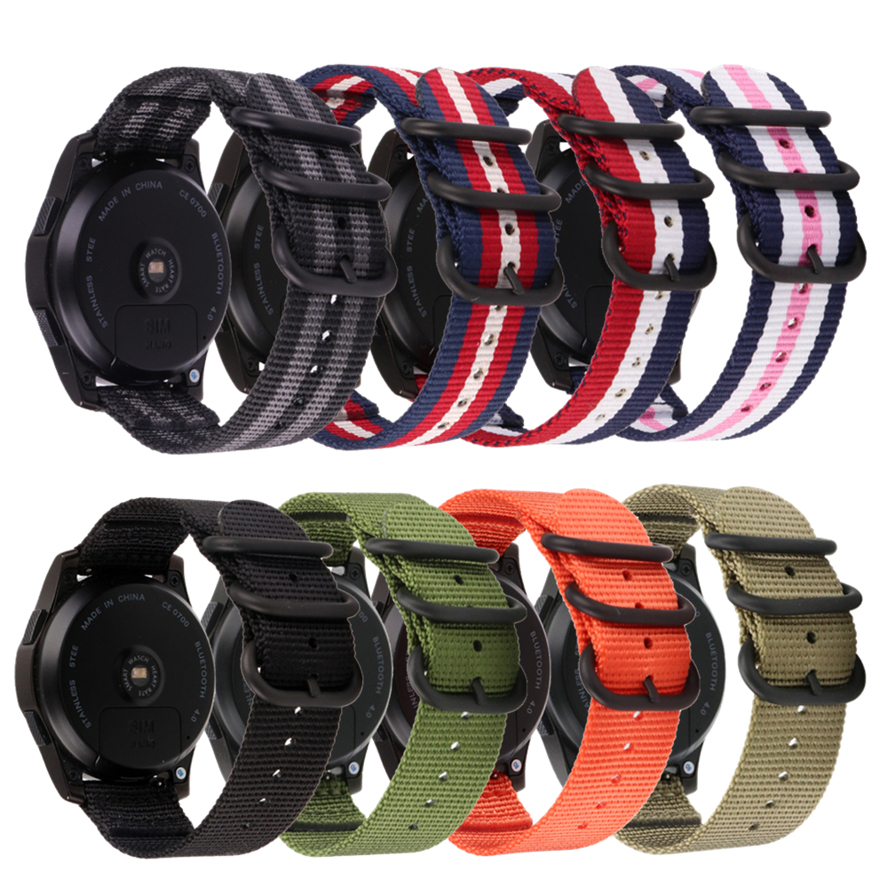 Nato Canvas Nylon Strap 22mm 20mm Band For Garmin 245 For Samsung Gear S3/Galaxy Watch Active/42mm/46mm For Huawei Watch GT Band