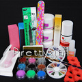 Pro Acrylic Nail Liquid Powder Glitter Nail Art Tips Kit Rhinestone Cleaning Nail Brush Filetool Form Manicure Set Dropshipping