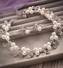Aleación de la flor hueco collar de perlas pendientes de lujo joyería nupcial conjuntos de novia de dos piezas traje de boda accesorios