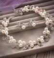 Liga oco flor colar de pérolas brincos conjuntos de jóias de noiva de luxo acessórios do casamento de noiva two-piece suit