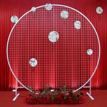 New wedding circle mesh arch background screen sen geometric s-shaped iron road guide
