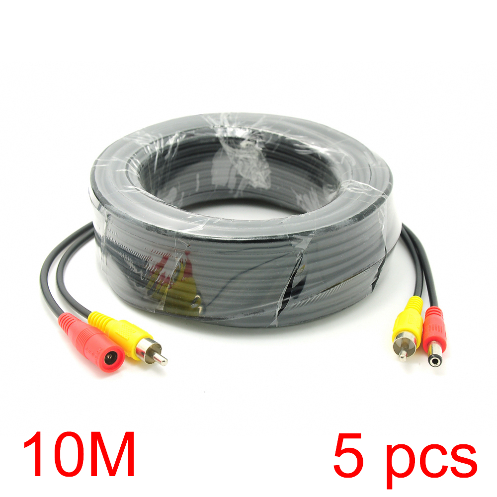 5x 10M/32FT RCA DC Connector Power Audio Video Cable For CCTV Camera Security