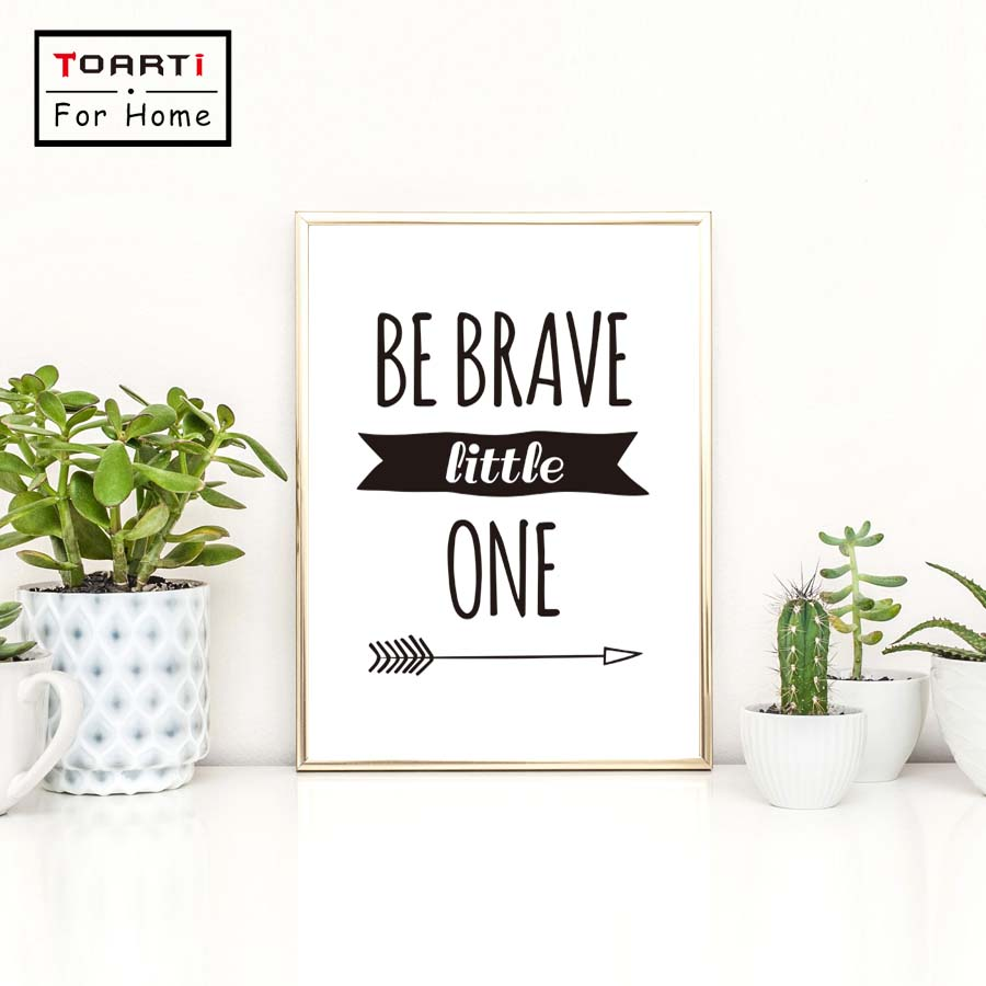 Be Brave Little One Letters Inspiring Quotes Canvas Art Print Painting Poster Wall Decor ...