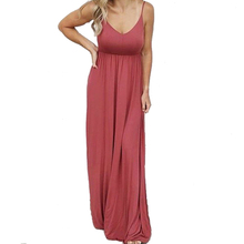Plus Size Big Loose Dress Casual Women Summer Beach Dress Boho 2019 Solid Maxi Dress Spaghetti Strap Sleeveless Long Dress M0529