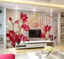 цены на Beibehang Custom wall paper home and rich red flower TV sofa background wall living room bedroom background murals 3d wallpaper  в интернет-магазинах