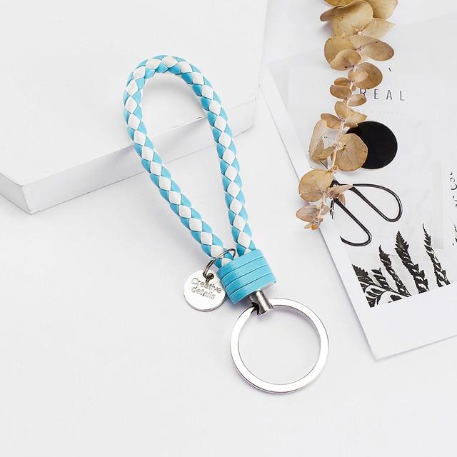 Vicney 33 Colors PU Leather Braided Woven Rope bts keychain DIY bag Pendant Key Chain Holder Car Keyrings Men Women Keychain 5