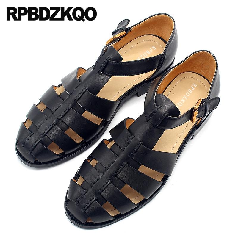 все цены на Genuine Leather Shoes Casual High Quality Closed Toe Size 45 Plus 2018 Men Gladiator Sandals Summer Outdoor Black Roman Large онлайн