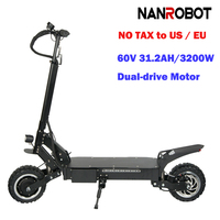 NANROBOT RS4 Adult Electric Scooter 11'' 60V 31.2AH 3200W Portable Folding 45 MPH 55 Miles Range 2 Wheel kick e Scooters