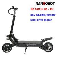 Nanrobot RS4 Электрический скутер для взрослых 11 ''60 V 31.2AH 3200 W Портативный складной 45 миль в час) или 55 км Диапазон 2 колеса kick e скутеры
