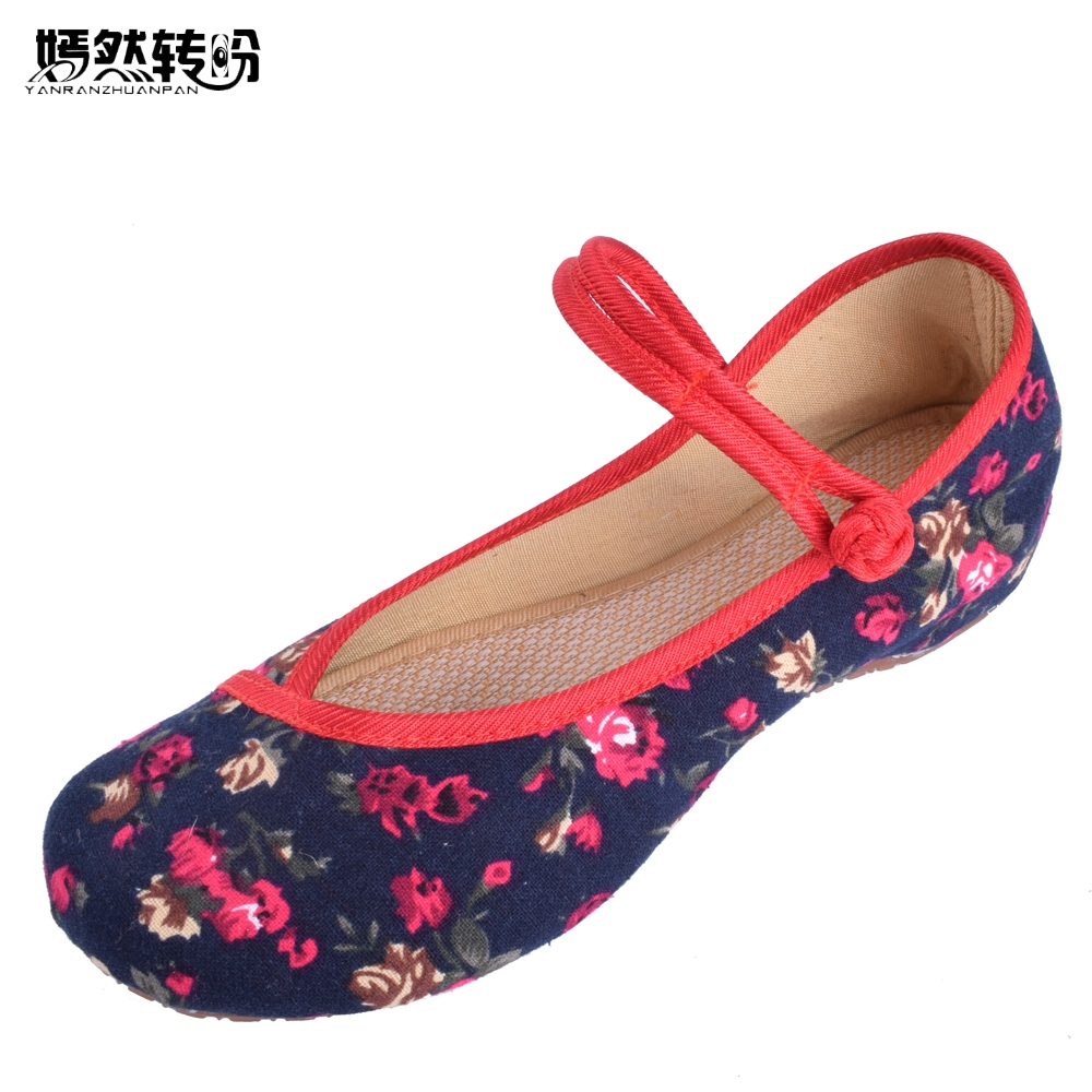 New Arrival Old Peking Women's Shoes Chinese Flat Heel With Flower Embroidery Comfortable Soft Canvas Shoes Size 34- 41 elsi el026awldu44