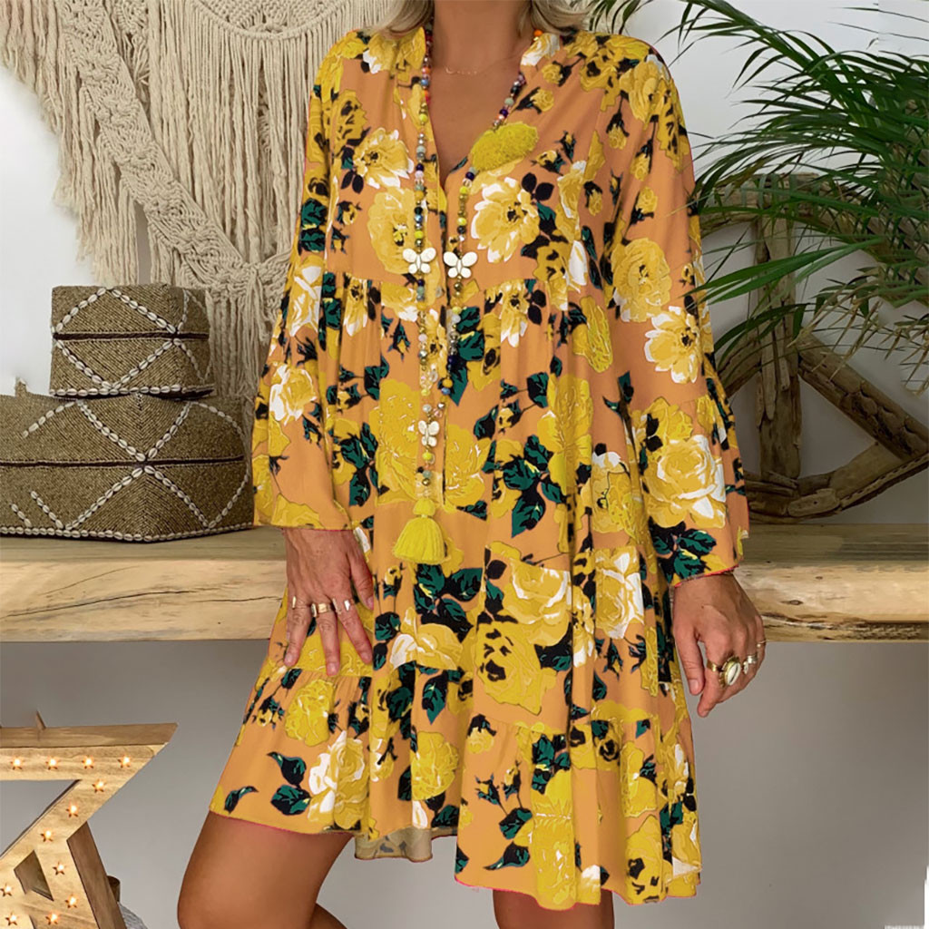 Summer Women Print Long Sleeve Shirt Dress Fashion Casual Loose Dress kleider beach floral Robe Femme summer dress 2020