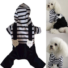 Hot Pet Dog Cats Hoodie Striped Black Pant Jumpsuit Puppy Clothes Apparels S-XXL New