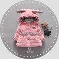 Новый девушки зимнее пальто детская одежда куртки мультфильм уха кролика cap лук карман плюс бархат толще пальто