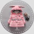 New girls winter coat baby clothing jacket cartoon rabbit ear cap bow pocket plus velvet thicker coat