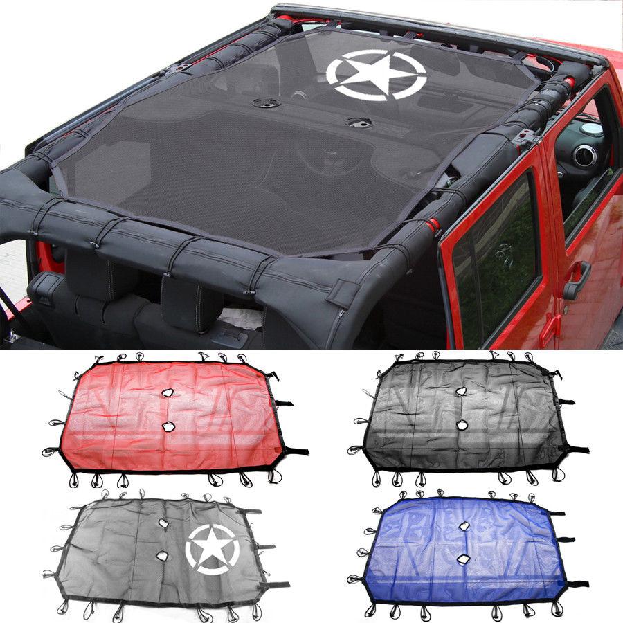 For Jeep Wrangler Durable Mesh Sun Shade Full Top Cover UV Protection with Storage Pockets For Jeep Wrangler JK JKU 2/4 Door siku внедорожник jeep wrangler с прицепом для перевозки лошадей