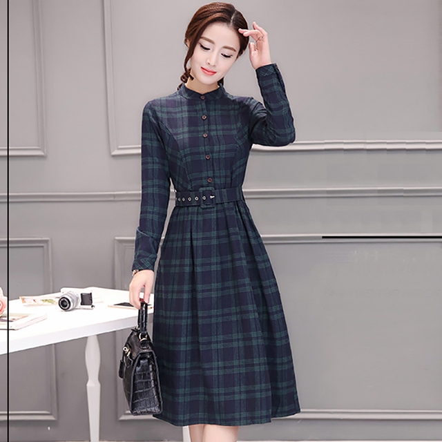 2019 Autumn Winter Plus Size Red Plaid Cotton Midi Dresses Women Elegant Korean Bodycon tshirt Dress Party Long Sleeve Vestidos 5