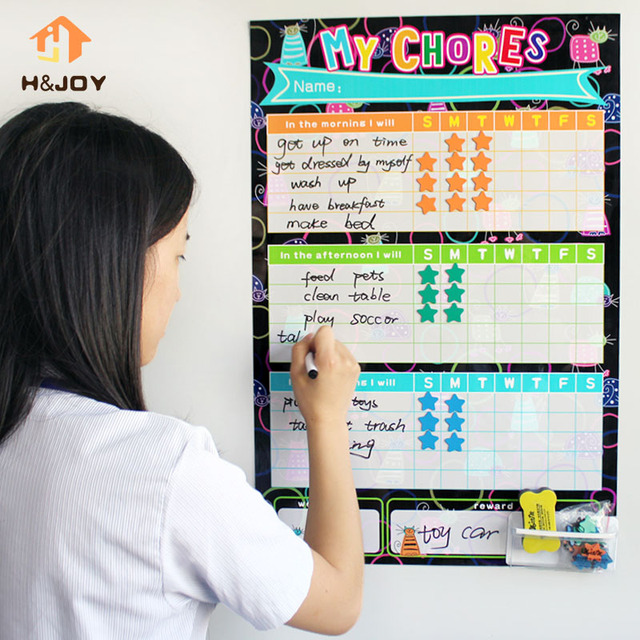Kids Reward Stickers Magnetic Reward Chart Wall Stickers For Child Calendar  Fridge Magnets Dry Erase Board Part 81
