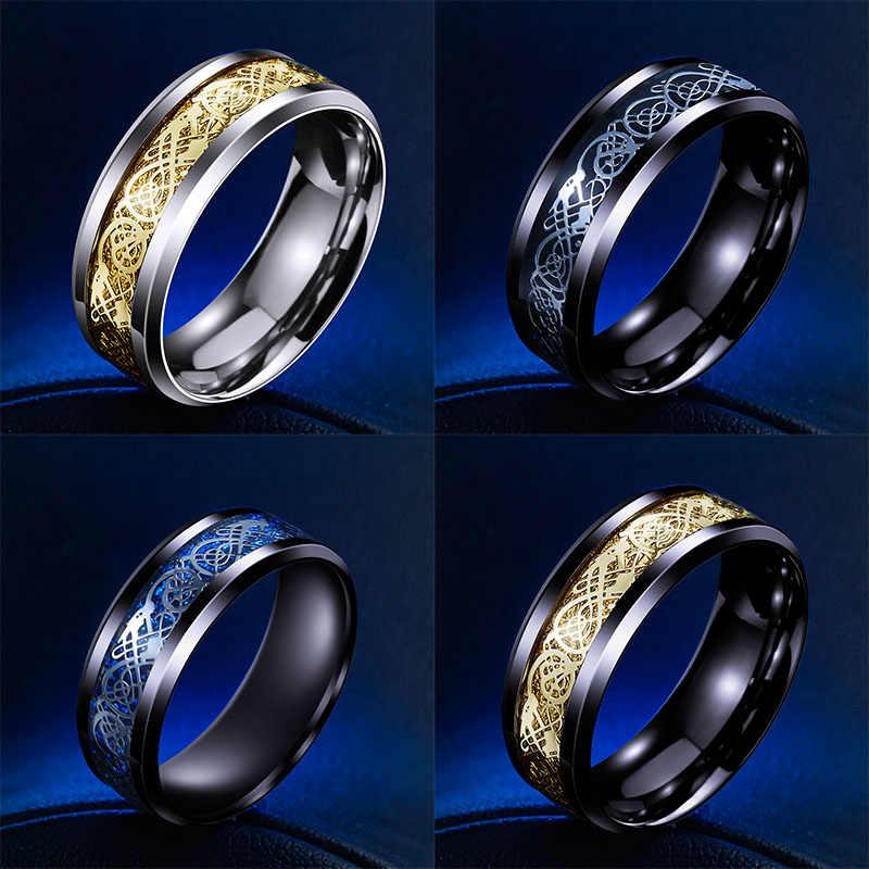 ชาย/หญิงแฟชั่น316Lสแตนเลสแหวนมังกรแต่งงานที่เรียบง่ายงดงามเครื่องประดับWR-R002