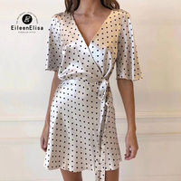 Summer V Neck Woman Dress 2018 Butterfly Sleeve Dresses Polka Dot Dress Casual