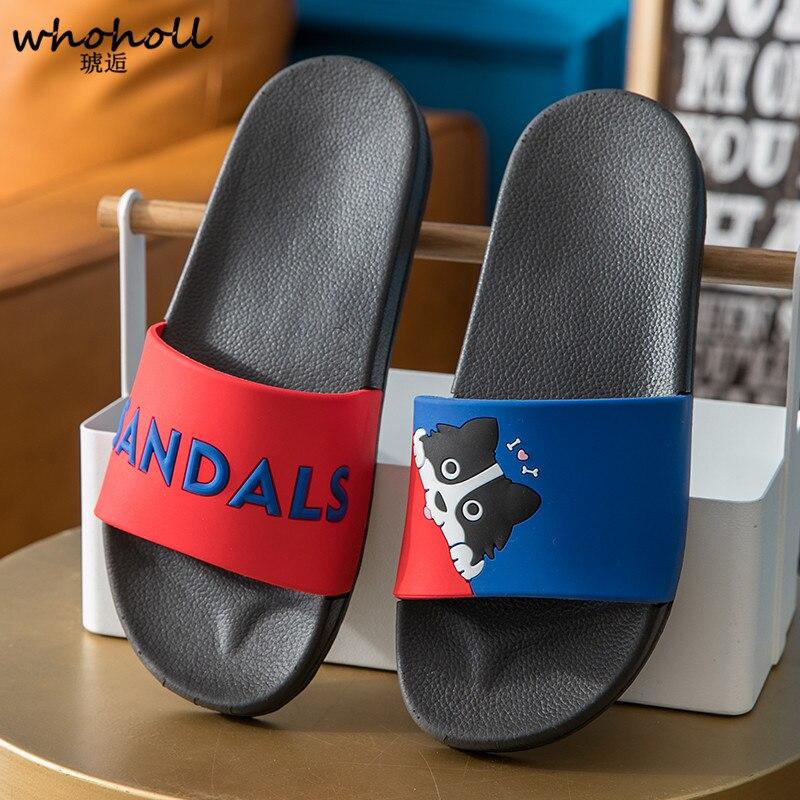 Whoholl men Slippers Summer men Slides Cute Cat Cartoon Platform Sandals Slip on Flip Flops Beach Slippers Zapatillas Mujer in Slippers from Shoes
