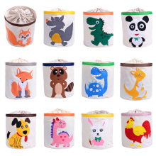 Cute Cartoon Animal Toys Organizer Dinosaur Panda Dog Kids Clothes Canasta de lavandería A prueba de agua plegable Toy Storage Box con cubierta