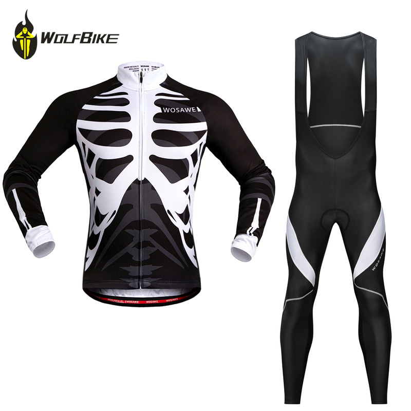 WOSAWE Cycling Bicycle Jersey Set Bone Skeleton Mtb Road Bike Sports Kit Breathable Ropa Maillot ciclismo Cycling Wear Suits in Cycling Sets from Sports Entertainment