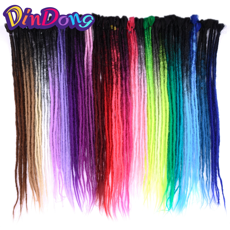 DinDong 24 tum Handgjorda Dreadlocs Höja Hårförlängningar Ombre - Syntetiskt hår
