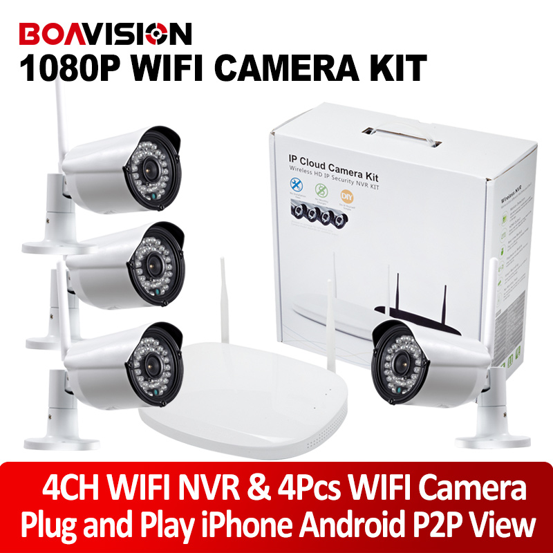 4Ch 1080P Wifi NVR Kit With 2MP Waterproof Wireless IP Camera Outdoor Security Wireless CCTV System Plug & Play P2P View
