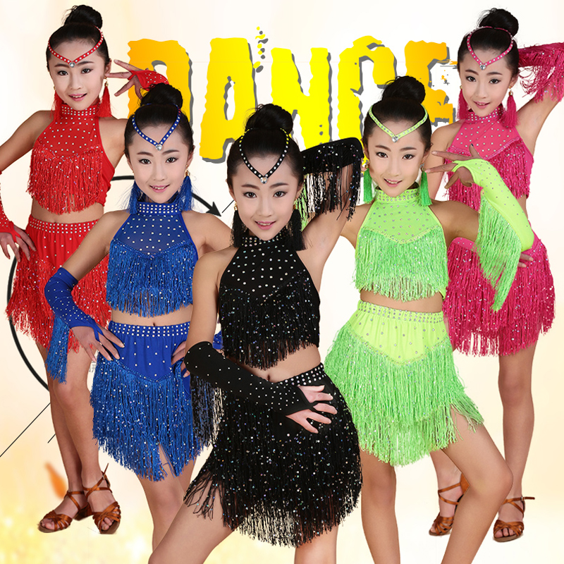 Girls Tassels Latin Dancing Dress Kids Samba Dancewear Costumes Outfits Children Professional Ballroom Salsa Latin Fringe Dress